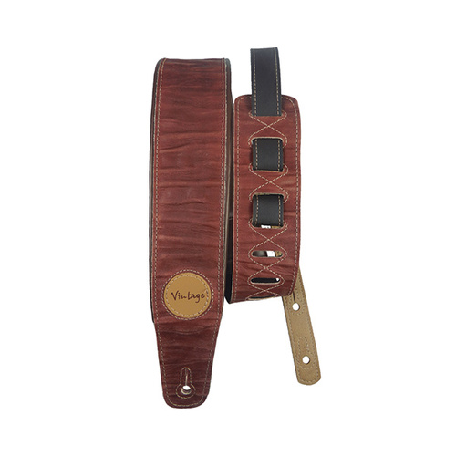 Basso Guitar Strap - Vintage Emboss Brown Leather